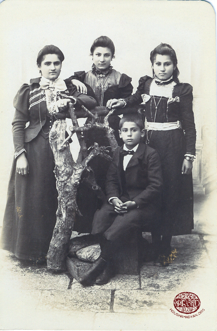 Ordu. Early 1900's. Diran Antreassian with his sisters (from left) Hayguhi, (name unknown), and Imasduhi