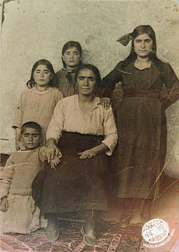 Marash 1921. The Tokatlian family. Seated on the ground: Hagop (born 1915); seated on the chair: Hagop's mother Hayguhi. Standing, left to right: Hayguhi's sisters – Nvart, Arshaluys and Zabel (Source: Mihran Minassian collection)