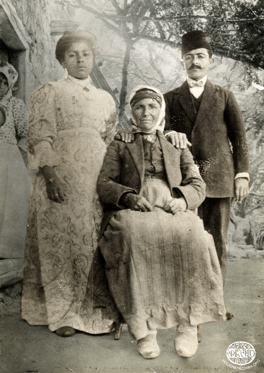 Geokdjian-Kasardjian family in the yard of their Sis house; 1910