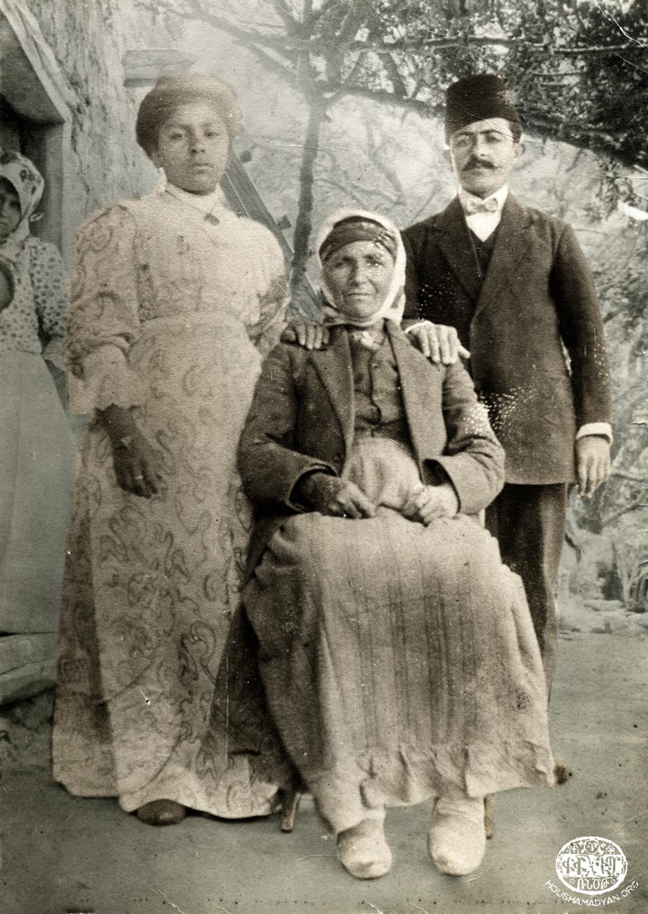 Geokdjian-Kasardjian family in the yard of their Sis house; 1910