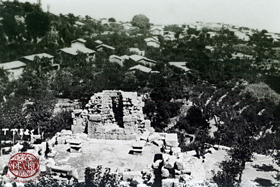 The village of Bitias with the ruins of Hovhan Vosgeperan monastery in the forefront