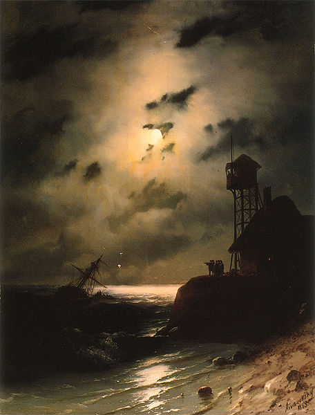 Moonlit Seascape With Shipwreck, oil on canvas, 1863