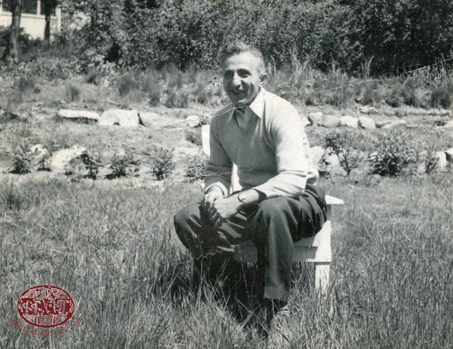 Avedis in his garden, Sound Beach, New York, 1950s