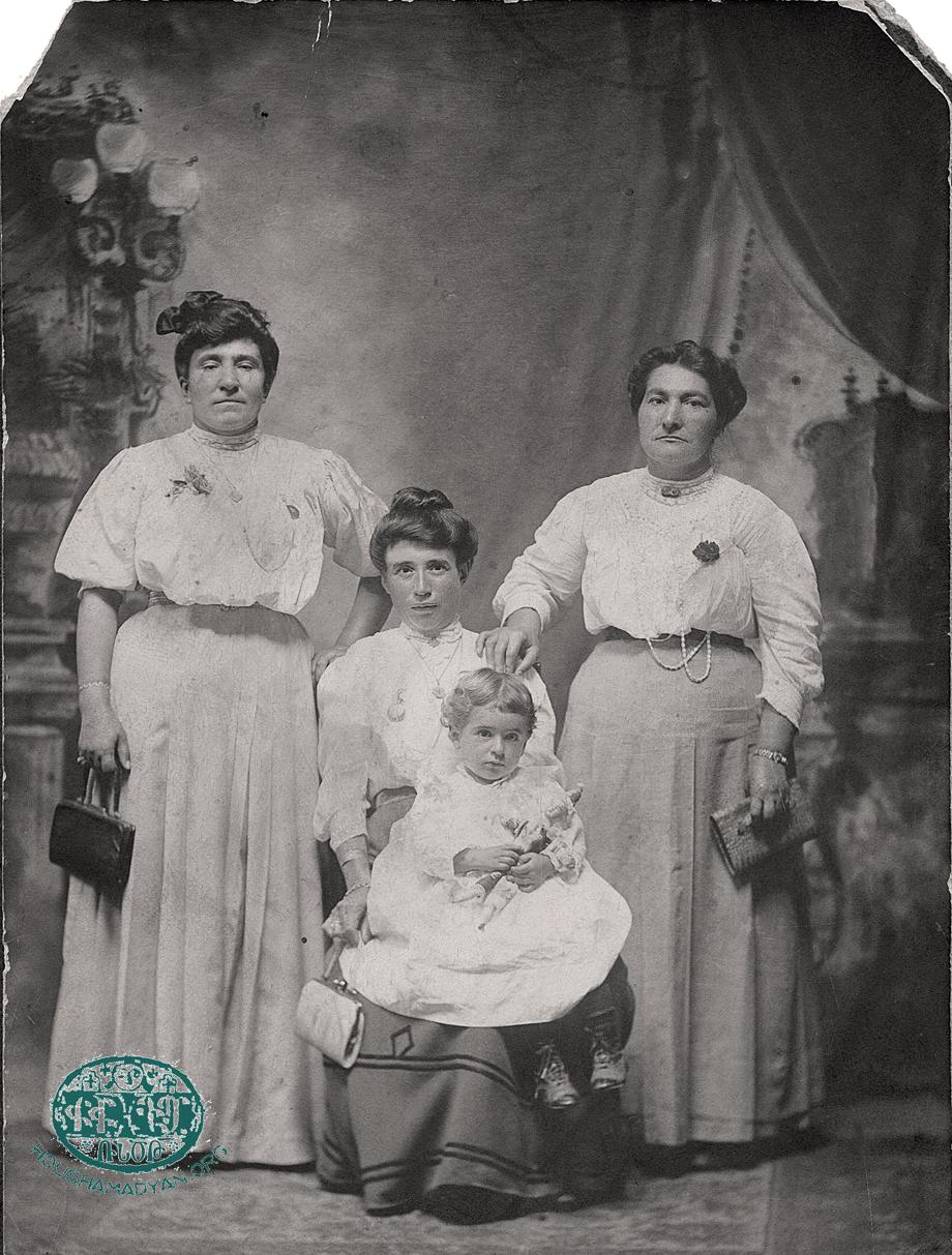 Fresno, CA, 1907. (Seated centre): Varteni Bagdasarian (née Rahanian) and her son Benjamin.
