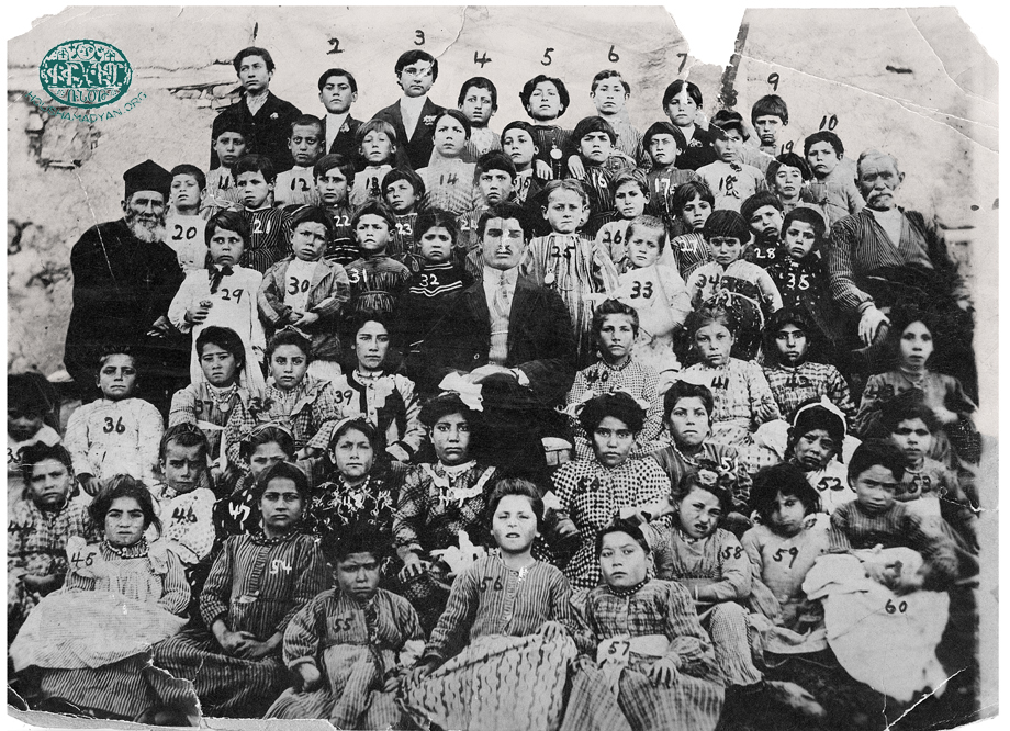 Verin Khokh, 1912. Co-ed student and their teachers of the village Armenian school