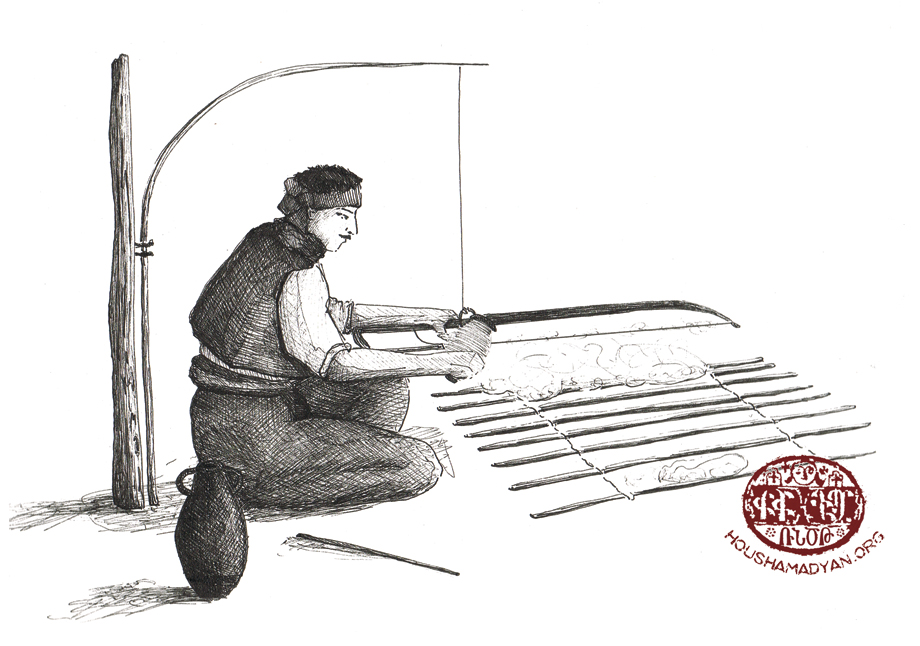 The cotton carder with his bow and arrow