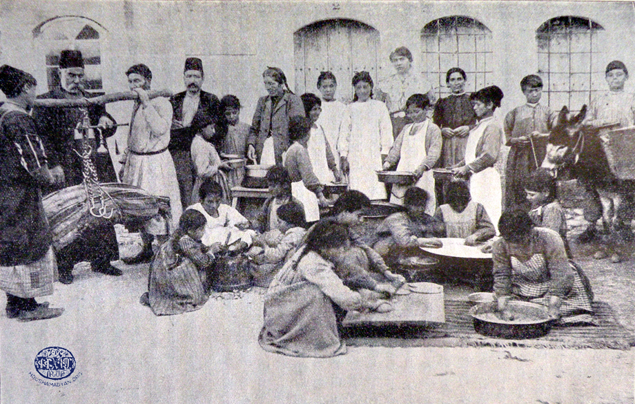 Armenian orphans preparing food at the German orphanage in Ourfa