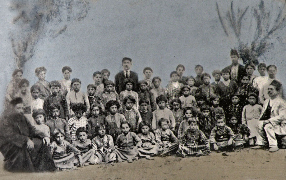 Dzovk (now Gölcük) village, 1913. The students of the St Nshan church first (primary) school