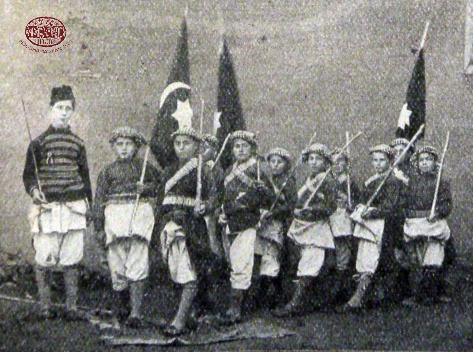 Armenian orphans in the Mezire German orphanage dressed like soldiers of the Ottoman army