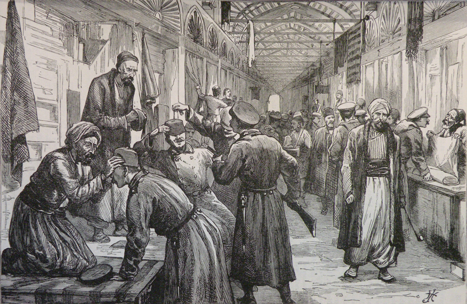 Russian army soldiers in a bazaar at Edirne/Adrianople