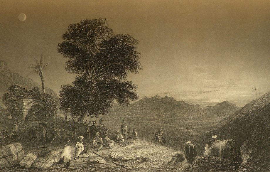 Etching: A caravan at rest on a moonlit night in the Amanos Mountains