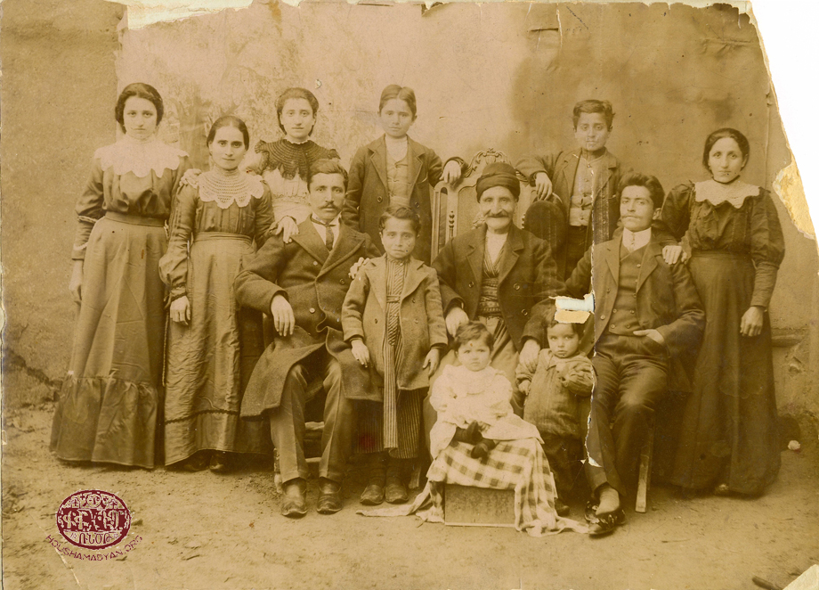Hussenig (Harput/Kharpert plain). The Mantarian family, ca. 1912.