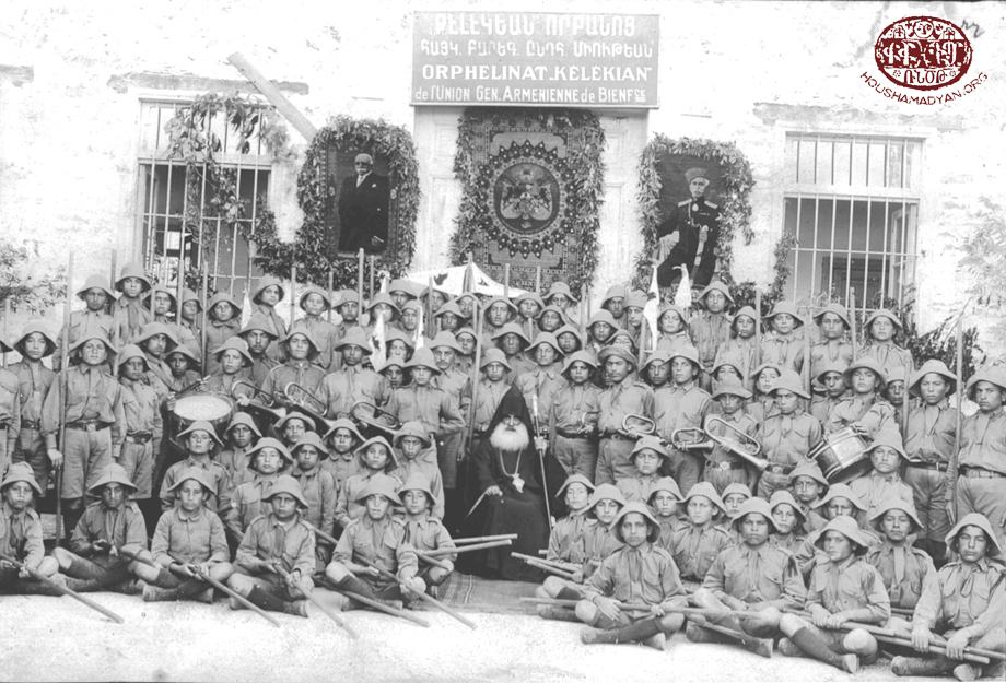Dörtyol, ca 1920: Children of the Kelegian orphanage during a visit by Catholicos Sahag II