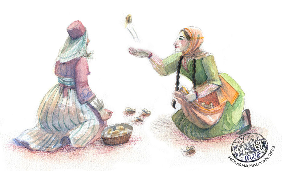 Girls playing with knucklebones (Drawing by Juliette Inigo, Houshamadyan)