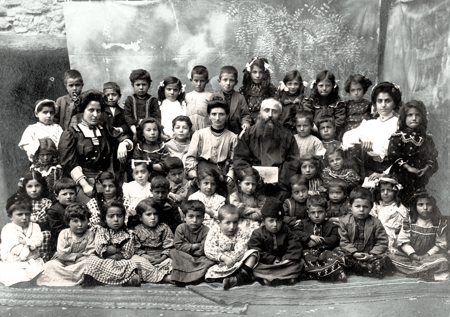 Lower Quarter, Harput. The children of the Armenian kindergarten and staff