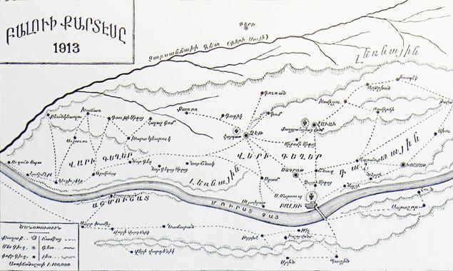 Բալու գաւառակին քարտէսը (աղբիւր, Սարգիսեան, op. cit., էջ 349)