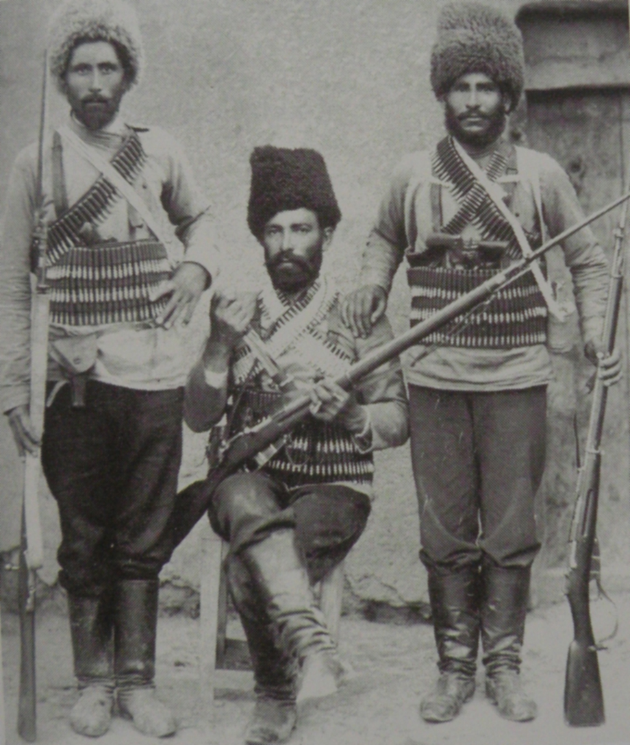 Kail Vahan (from Havav village) with two of his comrades-in-arms (Mandjikian, op. cit.)
