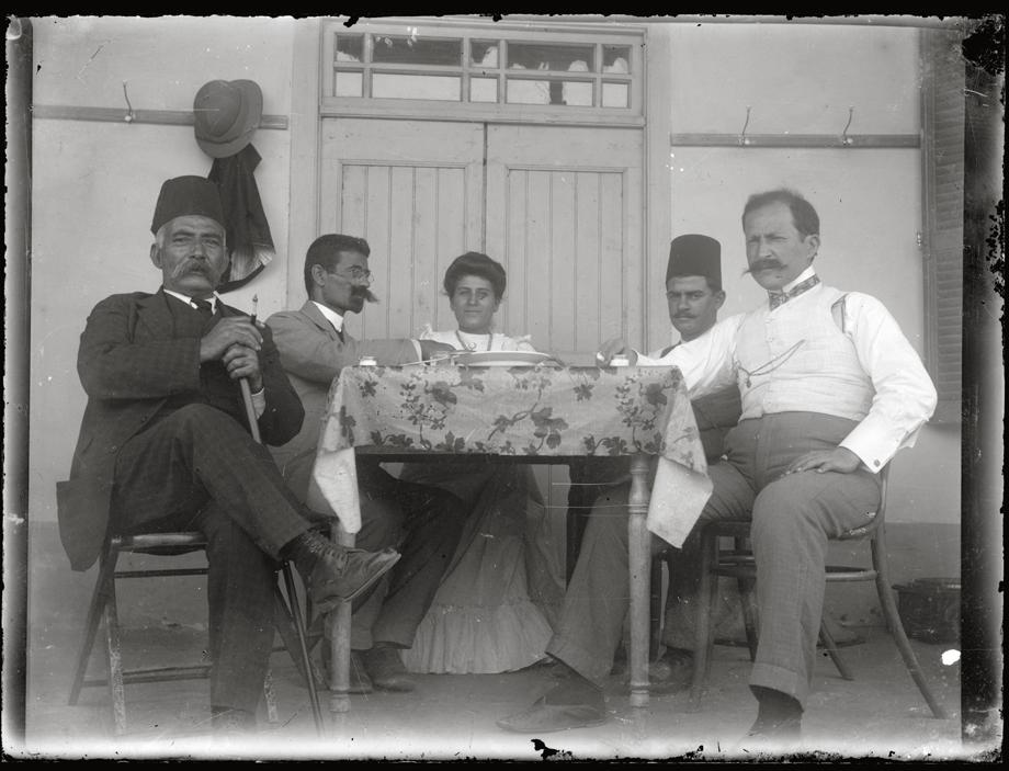 Arapgir: The Djerdjian family drinking coffee, probably in their home's courtyard