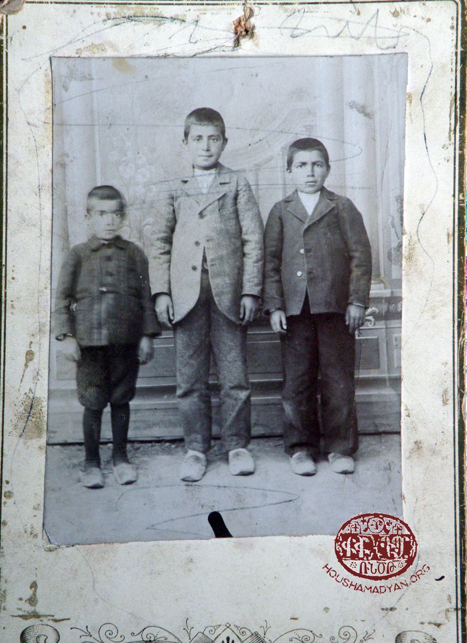 Sivas/Sepasdia, 1898. (From left): Nishan, Hrant and Mihran Toumajan brothers