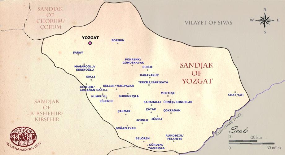 Maps Vilayet of Ankara Sandjak of Yozgat Houshamadyan a