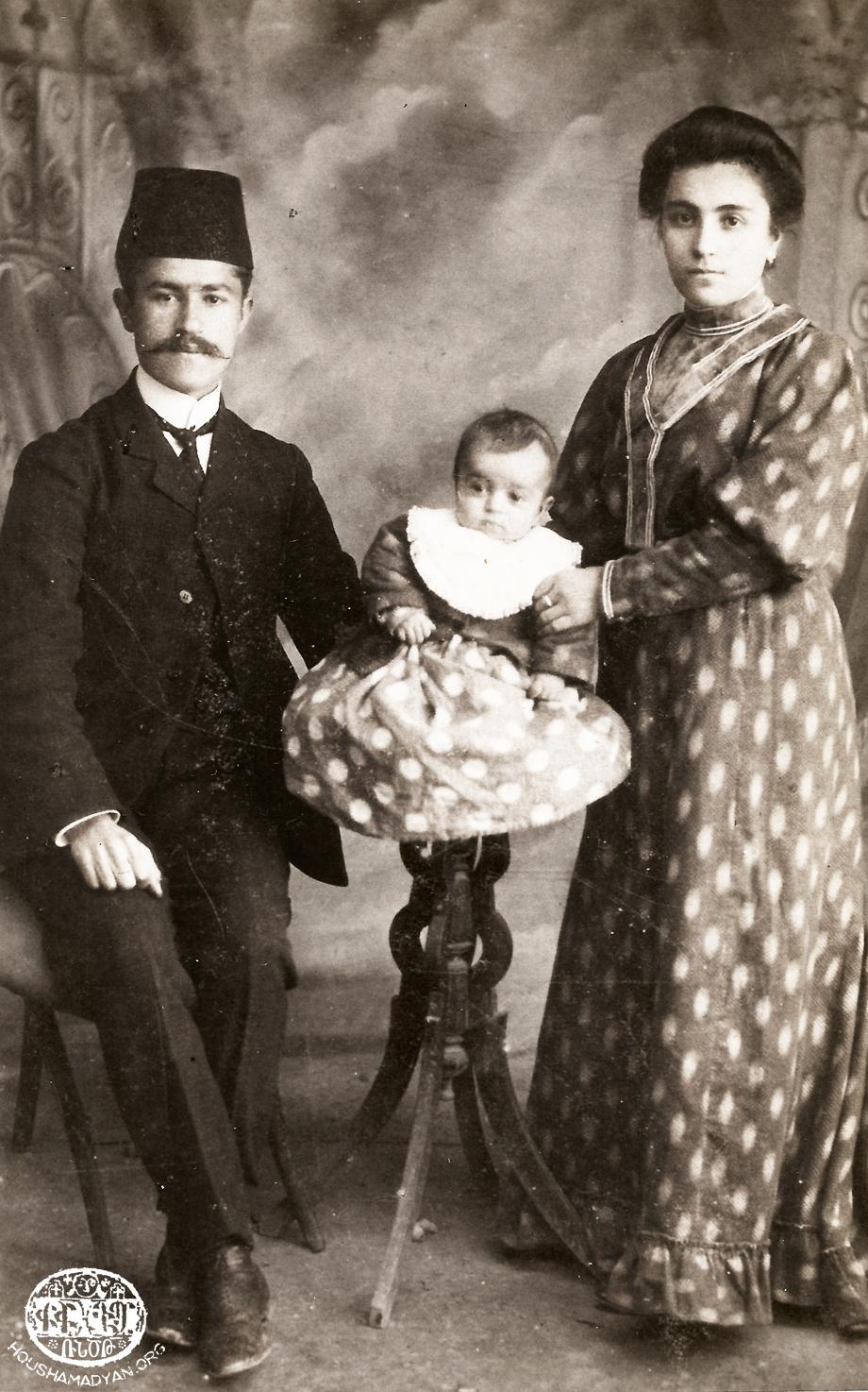 Soghomon Kasardjian and Azniv Kasardjian (nee Poladian) with their child