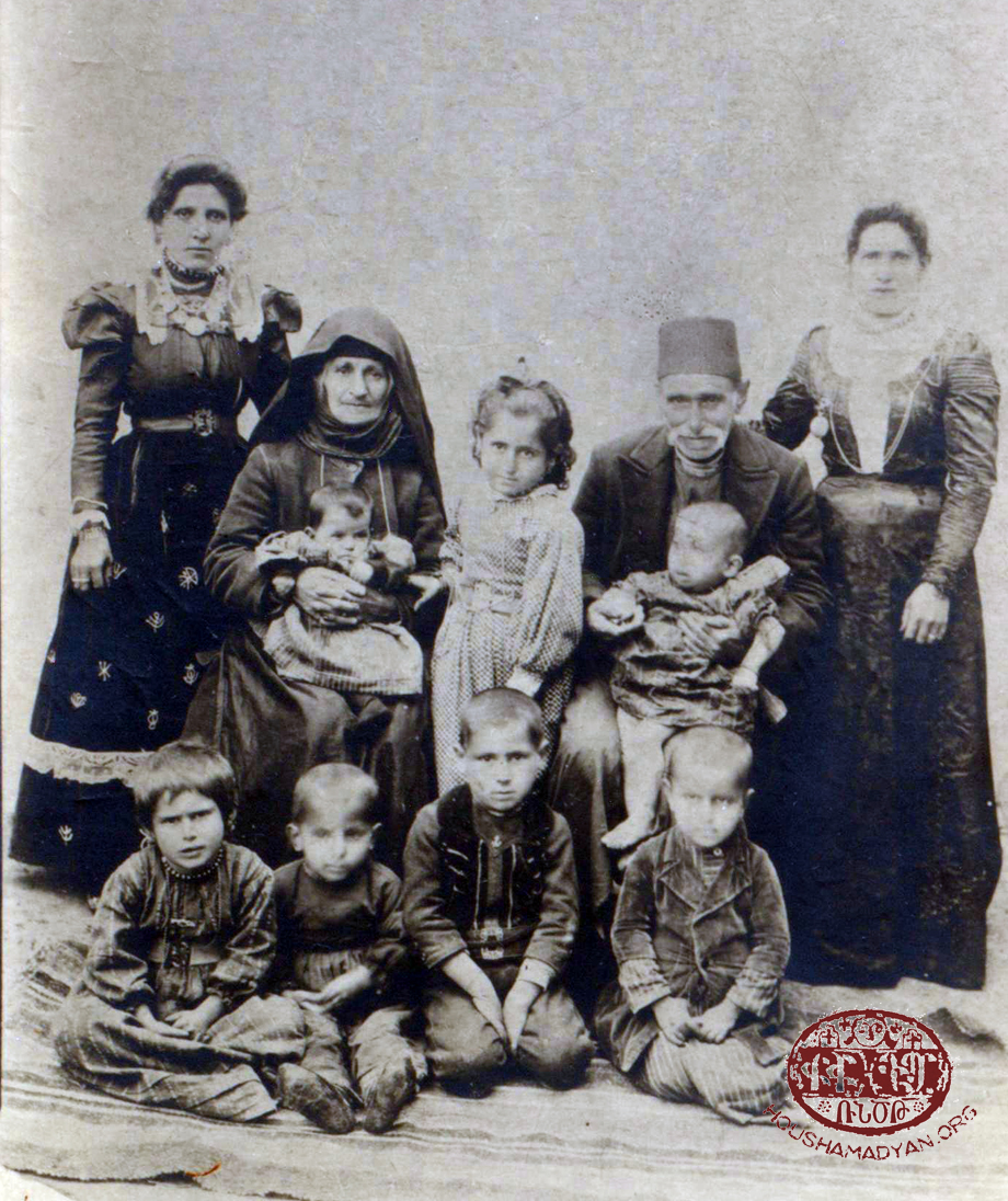 The Arzoumanian family, Ancherti village (present-day Topkapı) in the Arapgir region, 1907