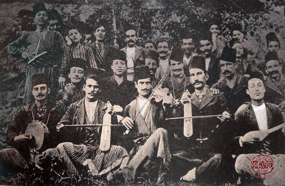 Group photo, Arapgir. Armenian musicians and participants of the festivity in the town vicinity