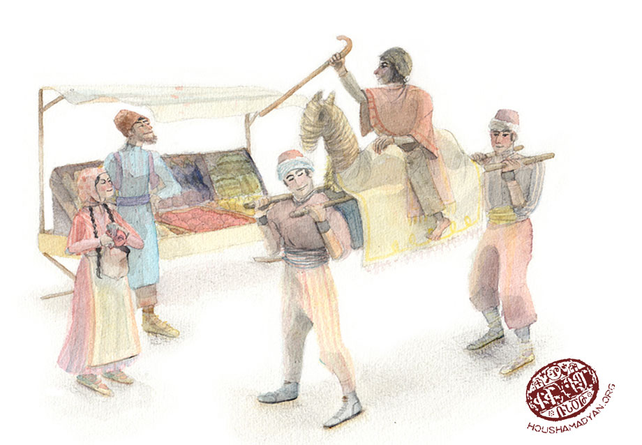 Deve-oyunu or the camel game (Drawing by Juliette Inigo, Houshamadyan)