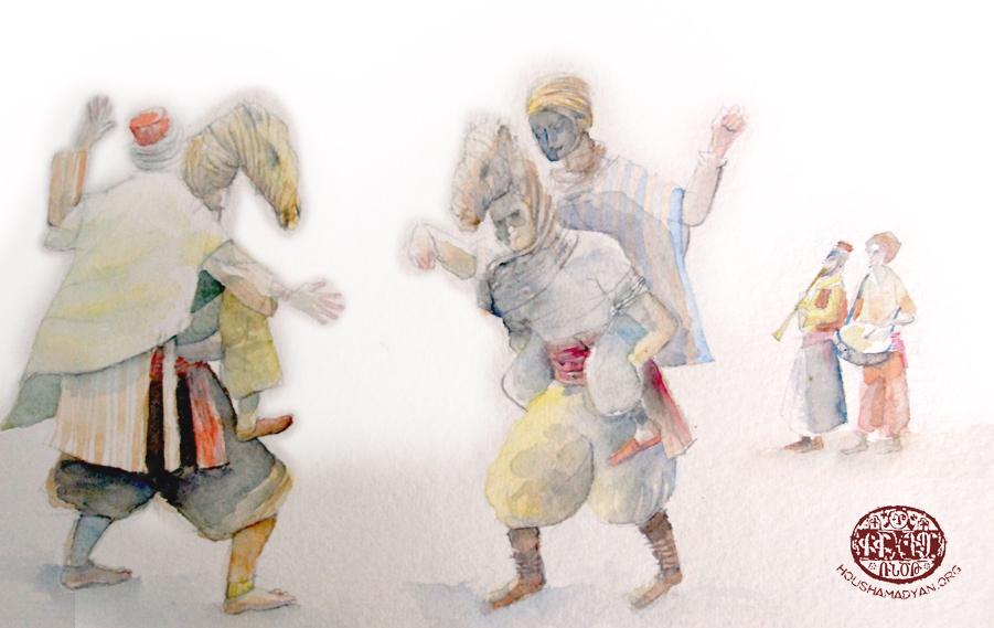 Բարեկենդանի զուարճութիւններէն՝ ուղտախաղը («տեւէ օյինի»)։ Գծագրութիւնը՝ Ժիւլիէթ Ինիկոյի կողմէ, Յուշամատեան