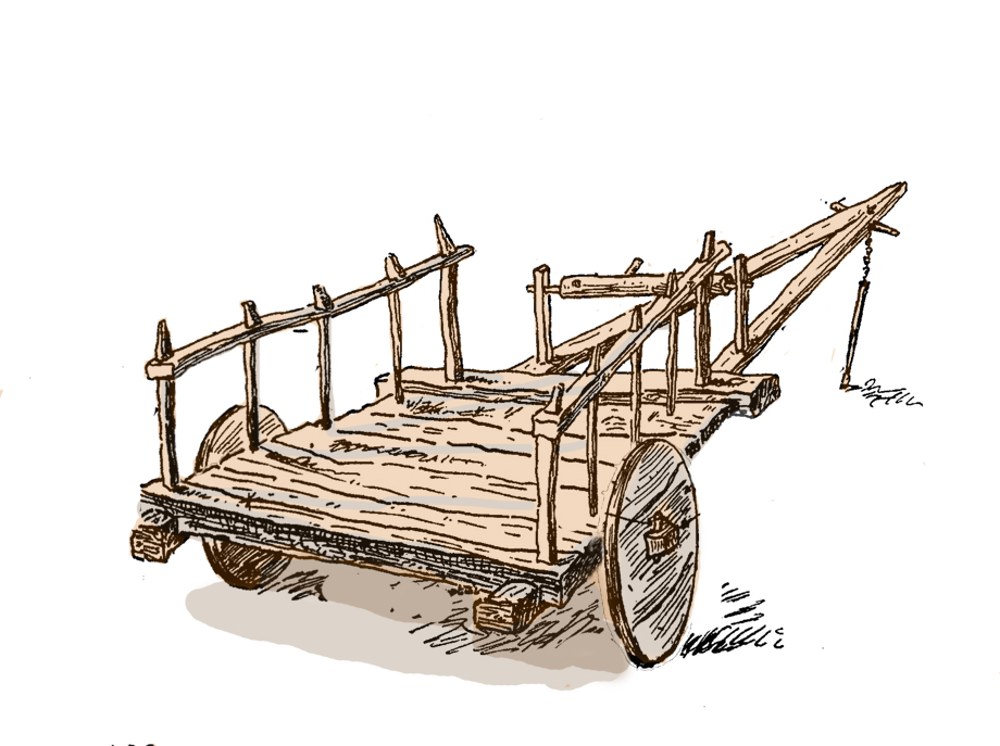 The cart. Drawn by Nvart Goshgarian. Reworked by Houshamadyan