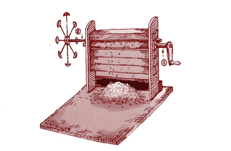 Djerdjer: cotton gin, used to separate the seeds from cotton bolls (Source: M. Dzeron, op. cit.)