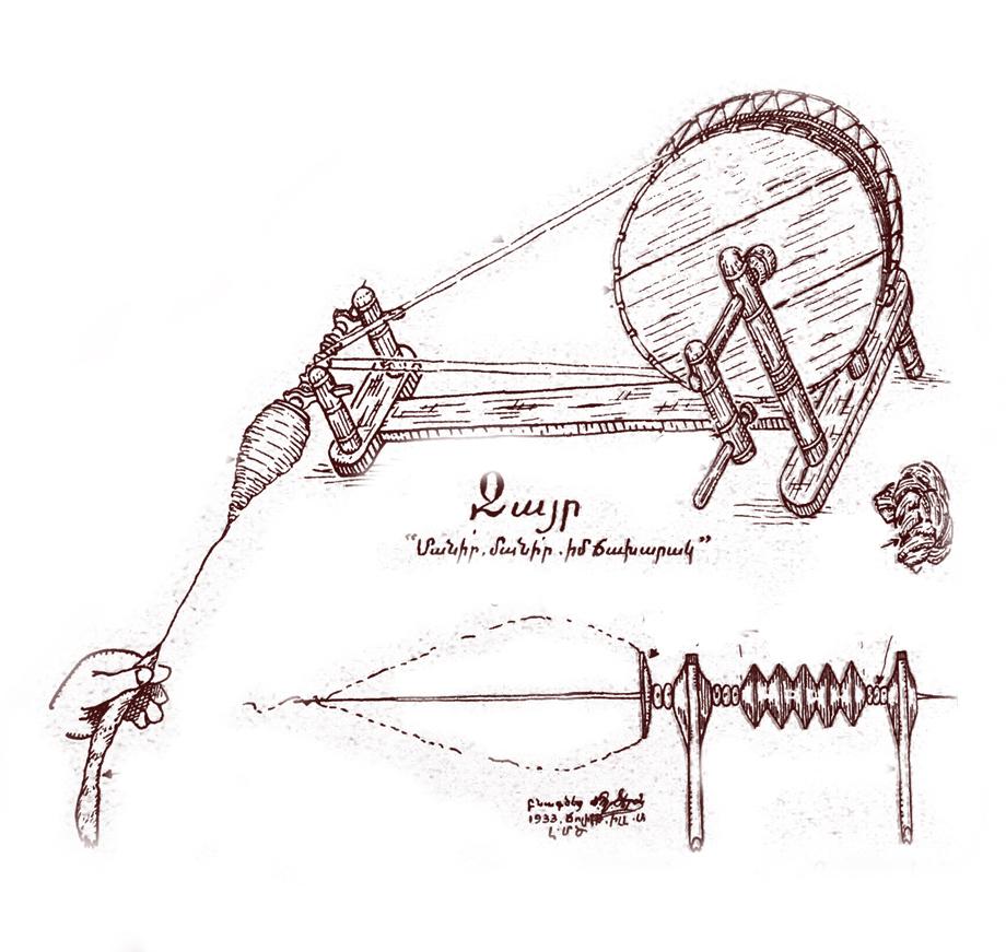Ջայրը, կամ ջահրակը, որ գզուած բամպակը կը վերածէ մանածի