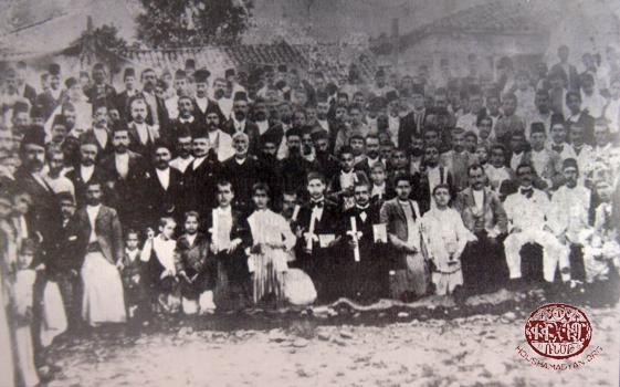 Dörtyol – 1902. National Central School graduates receive diplomas in church courtyard