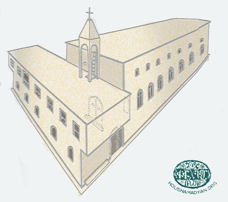 Hazari Köyü kilisesi ve okulunun çizimi