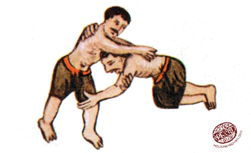 A scene from Armenian miniature painting showing wrestlers