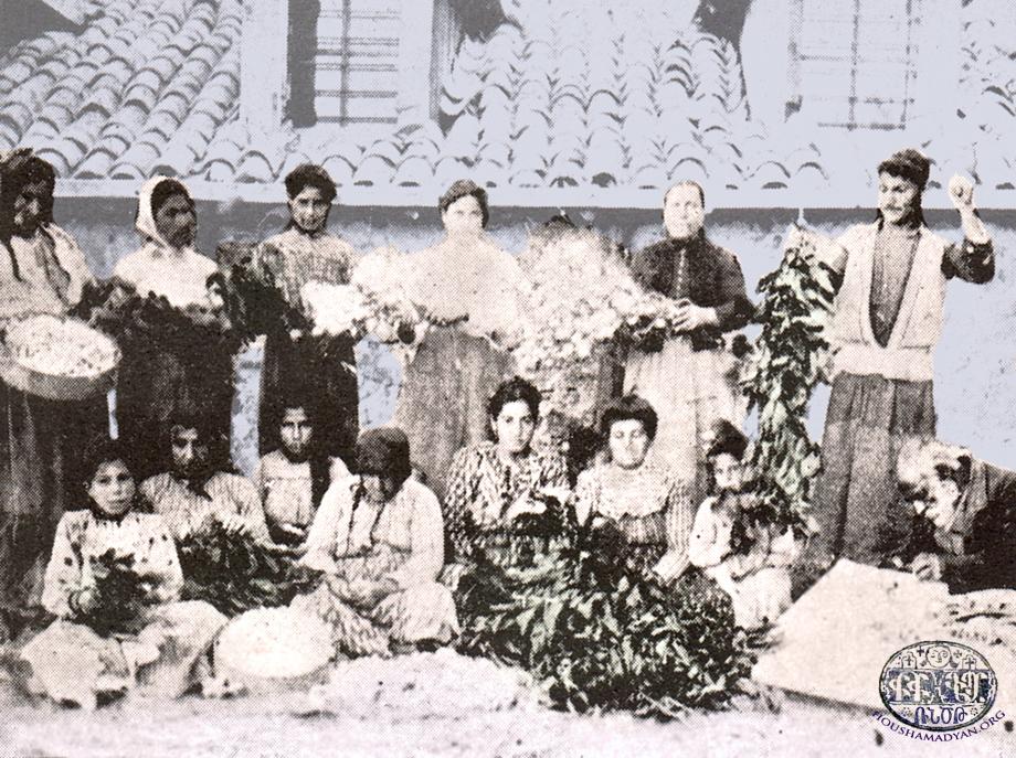 Armenian sericulture workers in Marash (Source: K. Kalusdian, op. cit.)