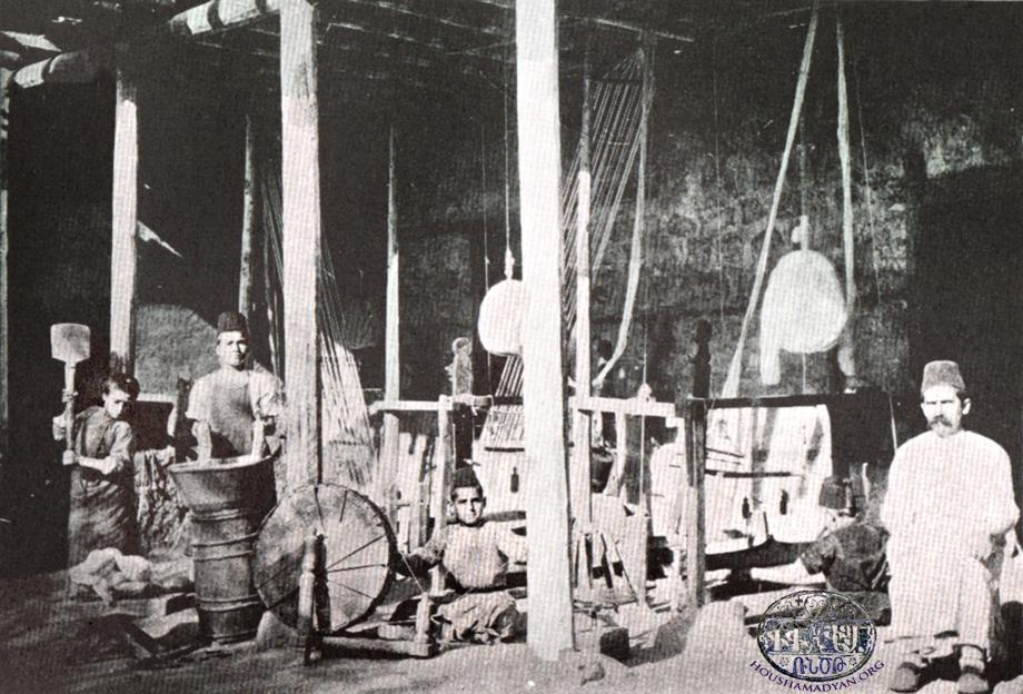 A weaving workshop in Marash (Source: K. Kalusdian, op. cit.)