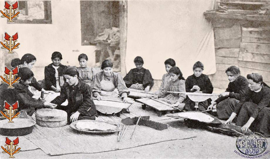 Orphan Armenian girls in Marash preparing bread (Source: K. Kalusdian, op. cit.)