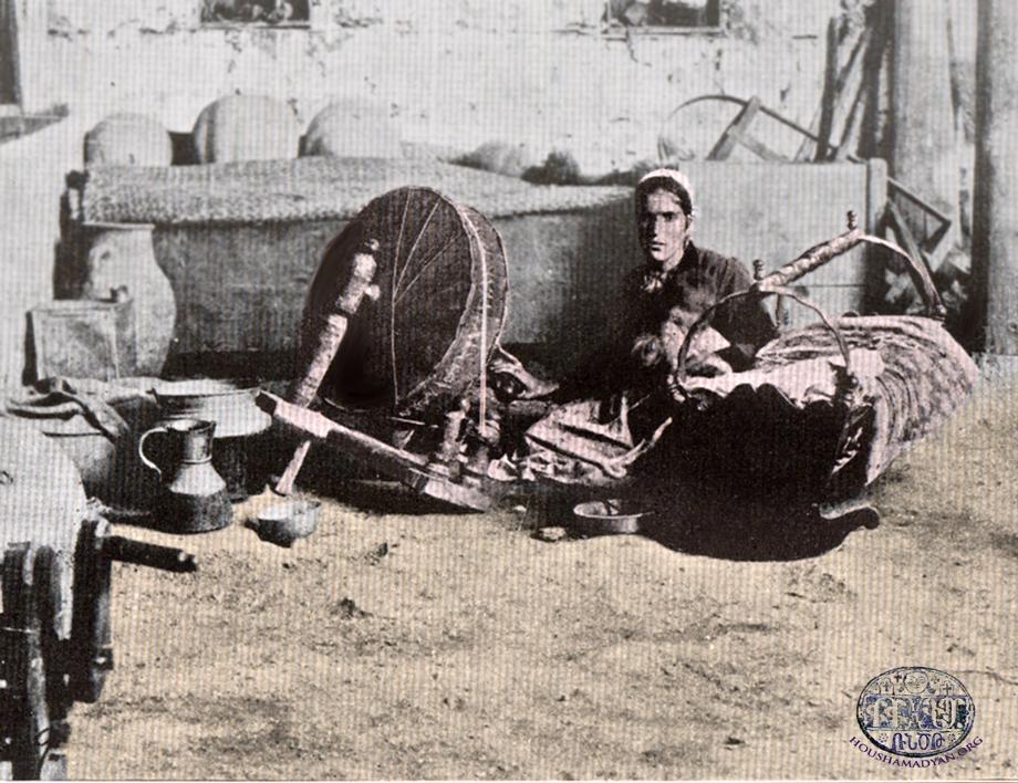 An Armenian mother in Marash spinning (Source: K. Kalusdian, op. cit.)
