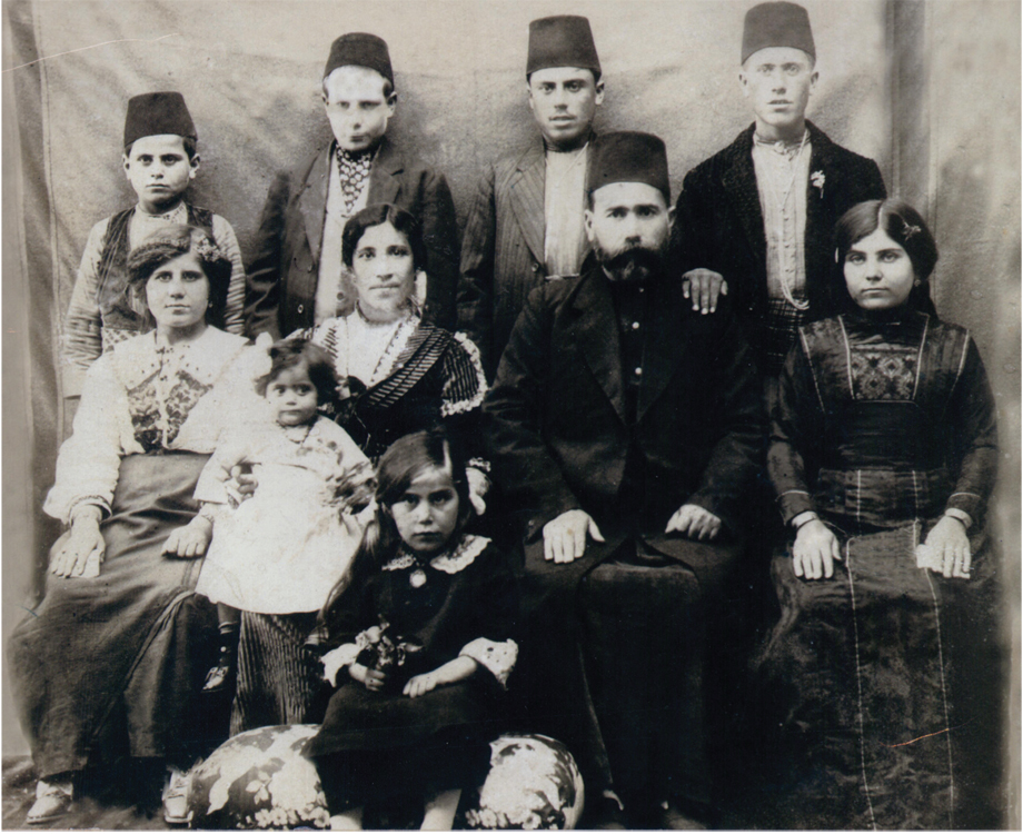 Aleppo. The family of Haji Harutyun (Artin) Agha and Eliza Torosian (from Birejik/Birecik), ca. 1918