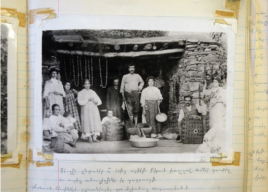 Hussenig. An Armenian family preparing rojik