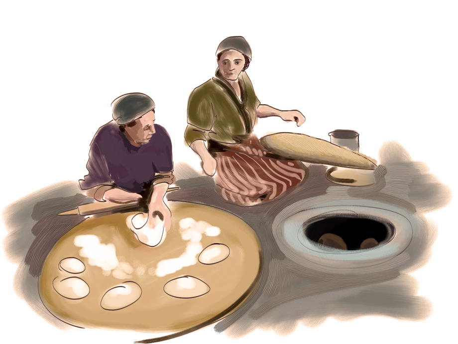 Baking bread in an oven (tonir)