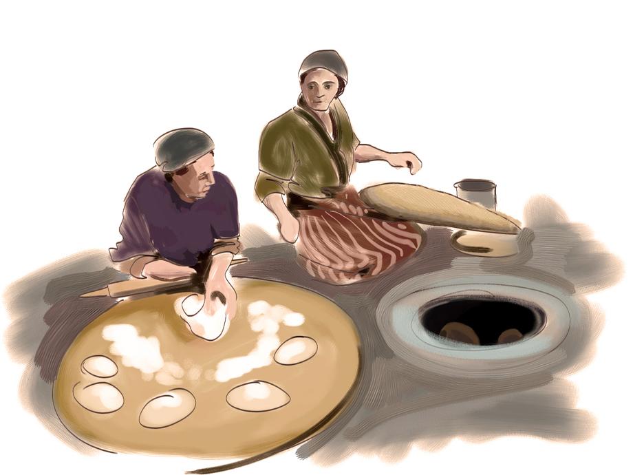 Baking bread in an oven (tonir)