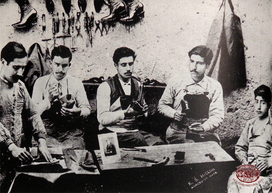 Hussenig. A shoe workshop and Armenian workers (Source: Aharonian, op. cit.)